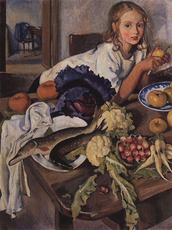 "Зинаи́да Евге́ньевна Серебряко́ва (Zinaida Serebriakova), ""Катя с натюрмортом"" (""Katya Still Life"")"
