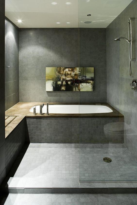 Cardinal Hardy | The Redpath Lofts  wet space grays bathroom