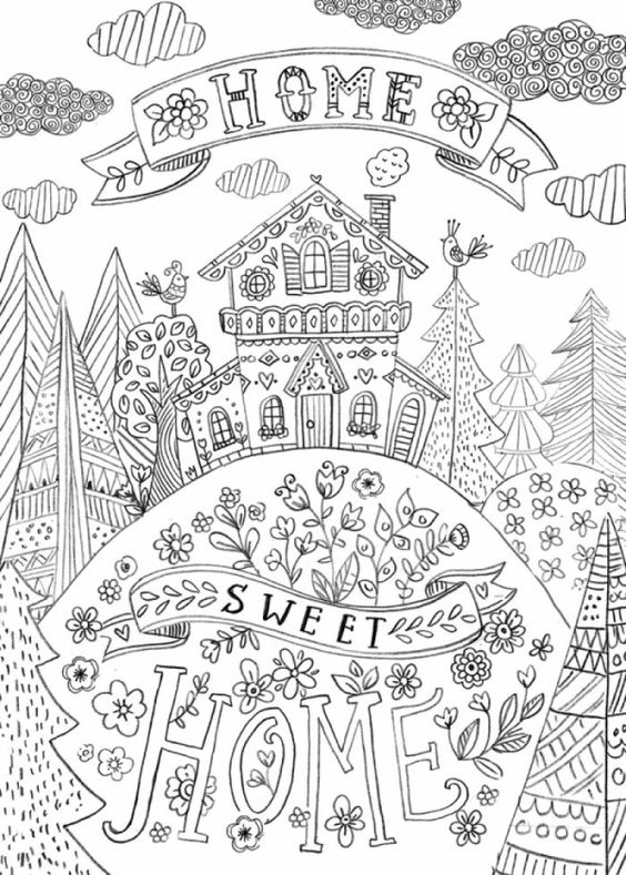 Adult Coloring Pages Adult Coloring And Sweet Home On