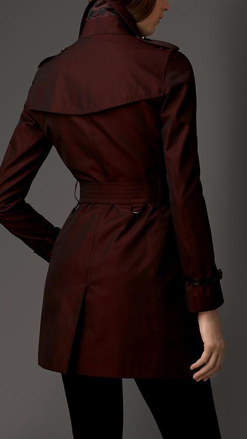 Trench coat en algodón de gabardina con detalles en jacquard a contraste   Burberry