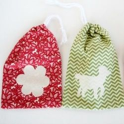 These little bags sew up quick and they are ideal for a beginning sewer. Personalize them with a simple applique.