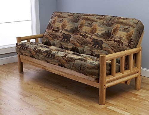 New Futon Frame Full Size Mattress Set This Rustic Log Frame Sofa Set Easily Converts Full Size Bed Nice The Wildlife Upholstery Is Great Hunting Cabin Cott In 2020 Futon Frame Futon