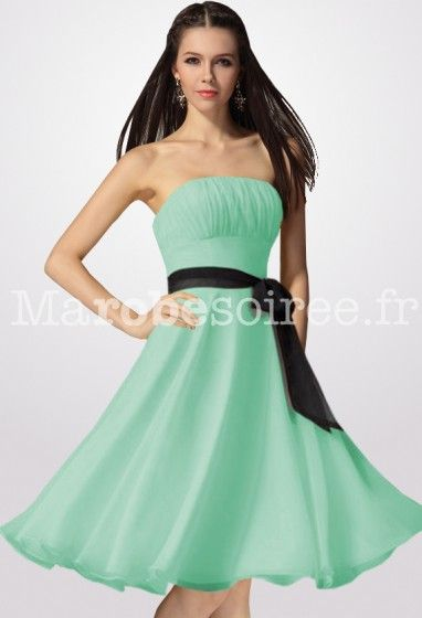 Robe de demoiselle d 39 honneur courte vert d 39 eau for Robe vert aqua pour mariage