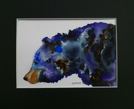 Bear Watercolor Art Original Painting Animal Sketch Illustration by Artist debra alouise. $30.00, via Etsy.