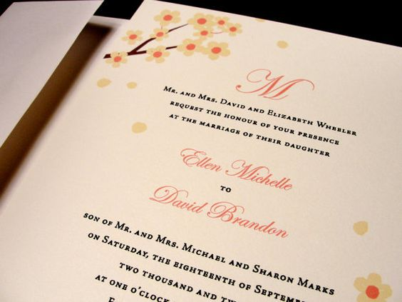 Beautiful Blossoms Custom Color Wedding Invitation Spring Summer