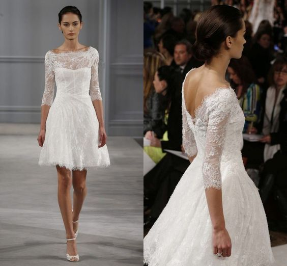 Cheap dress wedding, Buy Quality wedding dress bride directly from China wedding dress nature Suppliers:Fashion New Style 2014 Half Sleeves Eleagnt Lace V Cut Back Short Wedding Dresses  A. The wedding dre