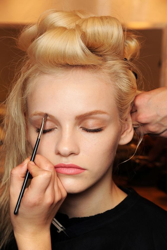 Ginta Lapina in hair and make up backstage Nina Ricci A/W/11