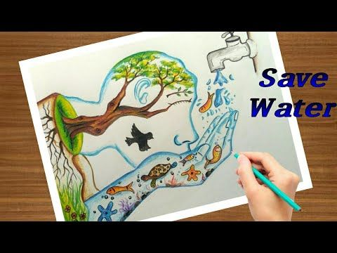 Save Water Save Life Step By Step Painting In A Easy Way Easy Trick To Draw Youtube Save Water Poster Drawing Save Water Drawing Save Water Poster