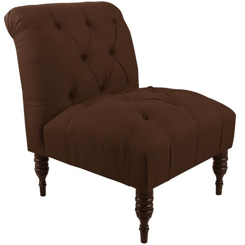 Found it at Wayfair - Tufted Chair in Linen Chocolate