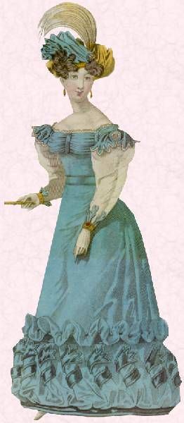 Picture of woman in a blue dress with a wide hem.