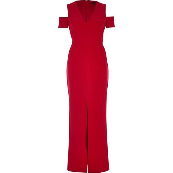 River Island Red cold shoulder plunge maxi dress ($86) ❤ liked on Polyvore featuring dresses, red, short sleeve bodycon dress, plunge bodycon dress, plunge maxi dress, plunging neckline dress and maxi dresses