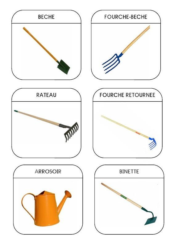 Imagier du jardin les outils 1 montessori pinterest - 94 outil de jardinage ...