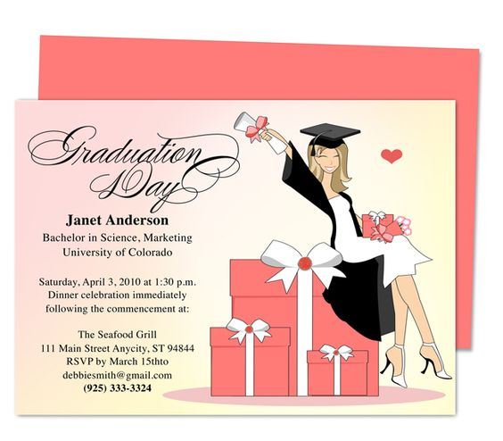 Graduation Party Invitations Templates Commencement Graduation - free microsoft word invitation templates