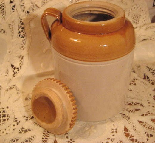 Rare Antique Two Toned Brown and White Stoneware 4 by StarPower99, $140.00