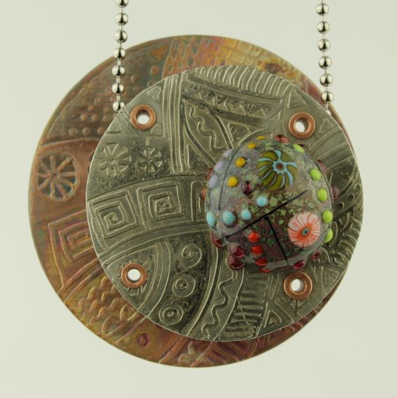 Glass, Etched Copper and Etched Silver Nickel Pendant - Kathryn Guler