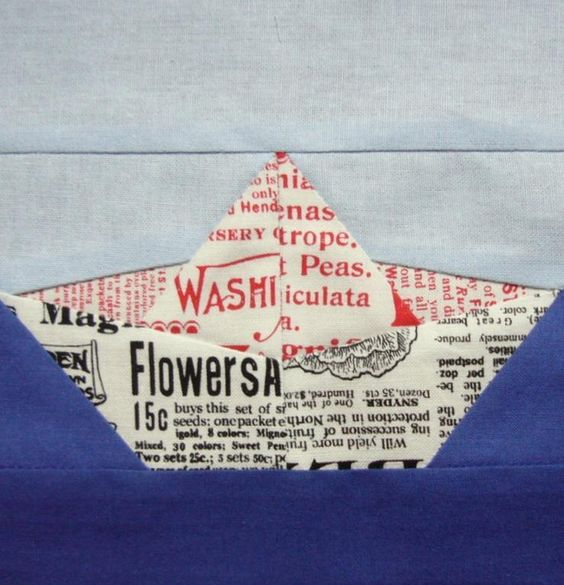 Origami boat paper pieced quilt block: