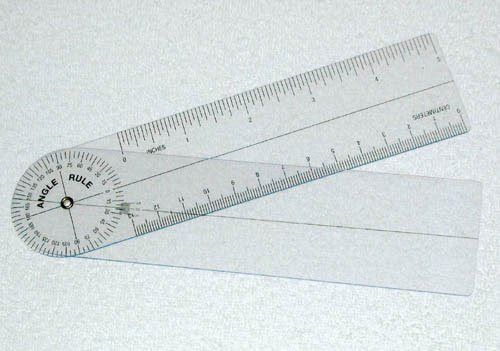 "Goniometer Plastic Angle Rule 7"" 360 Degrees"