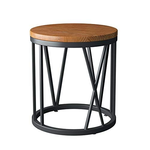Zhirong Retro Round Side Table Solid Wood Coffee Table Corner