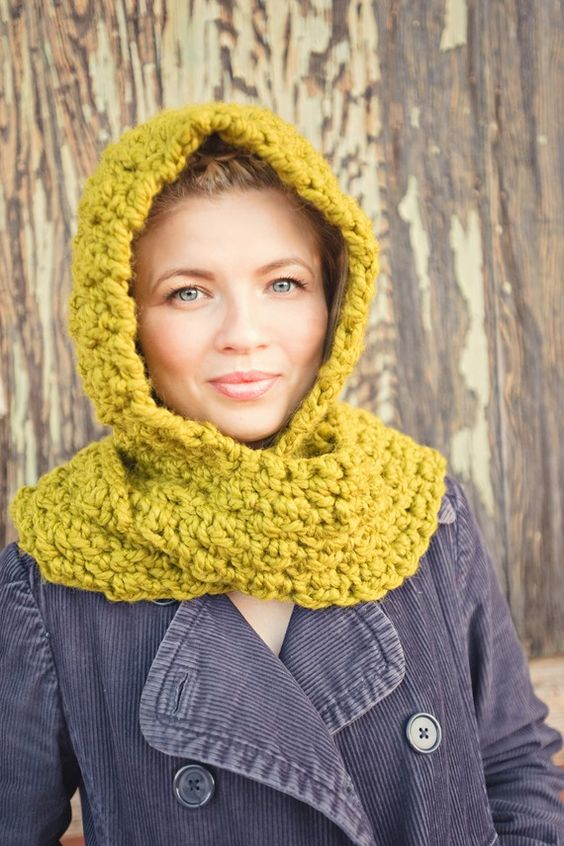 Hooded scarf chunky spring scarf yellow lime green by Shanionie
