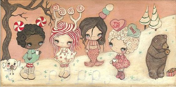 Cozy Cocoa And Candy Friends Holiday Print by thepoppytree on Etsy, $18.00