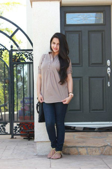 #Outfit of the Day #Khaki #Brown #Tunic with #Blue #denim