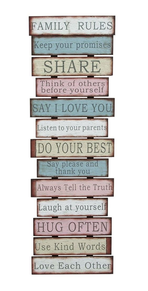 Family Rules Love Pink Blue Vintage-Look Wall Plaque Sign Saying Country: