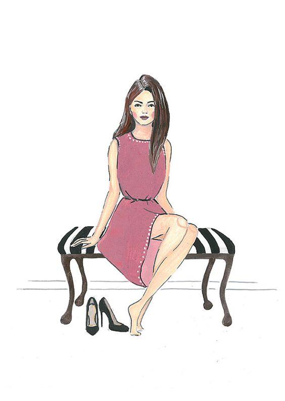 Fashion illustration print from original par IvanaIllustrations