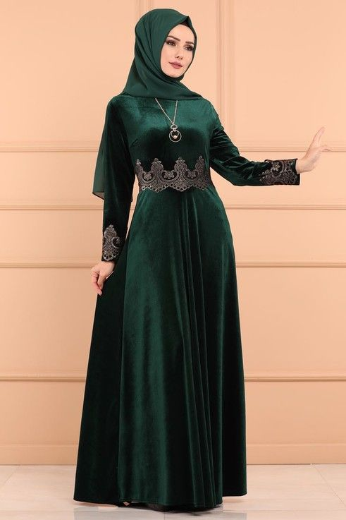 Modaselvim Elbise Varakli Kadife Abiye Ech7241 Zumrut The Dress Aksamustu Giysileri Elbise