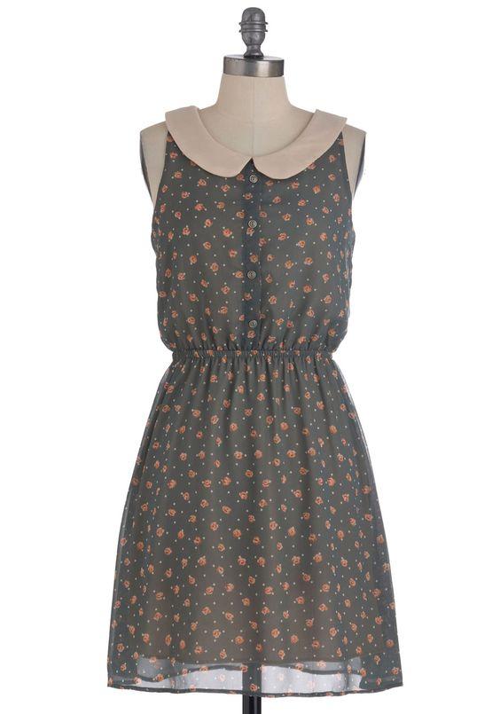 Sherwood Florist Dress - Mid-length, Grey, Pink, Polka Dots, Floral, Peter Pan Collar, Sleeveless