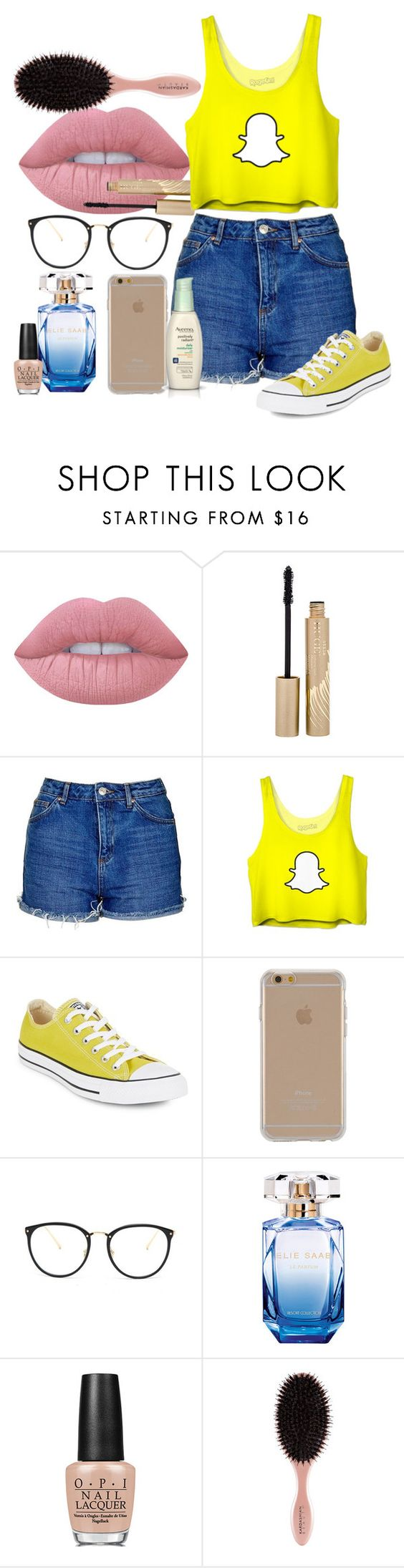 """Crop top Snapchat"" by clo-23 ❤ liked on Polyvore featuring Lime Crime, Stila, Topshop, Converse, Agent 18, Linda Farrow, Elie Saab, OPI and Aveeno"
