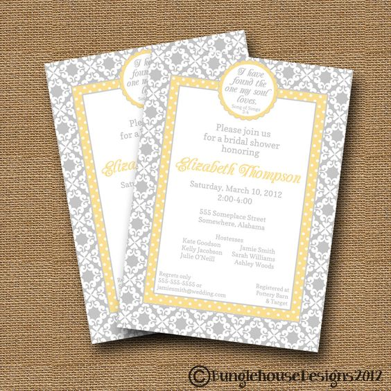 Bridal Shower Wedding Invitation DIY PRINTABLE Damask and Dots – Christian Wedding Invitation Bible Verses