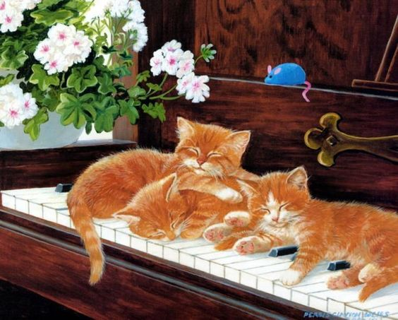 Sleeping cat painting. Persis Clayton Weirs: