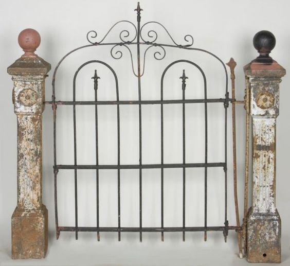 Antique Garden Gate Posts With Gate