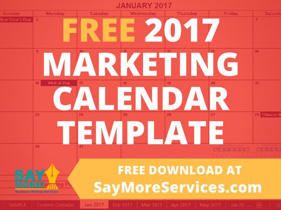 2017 Marketing Calendar Template in Excel - FREE DOWNLOAD u2022 SAY - sample marketing calendar