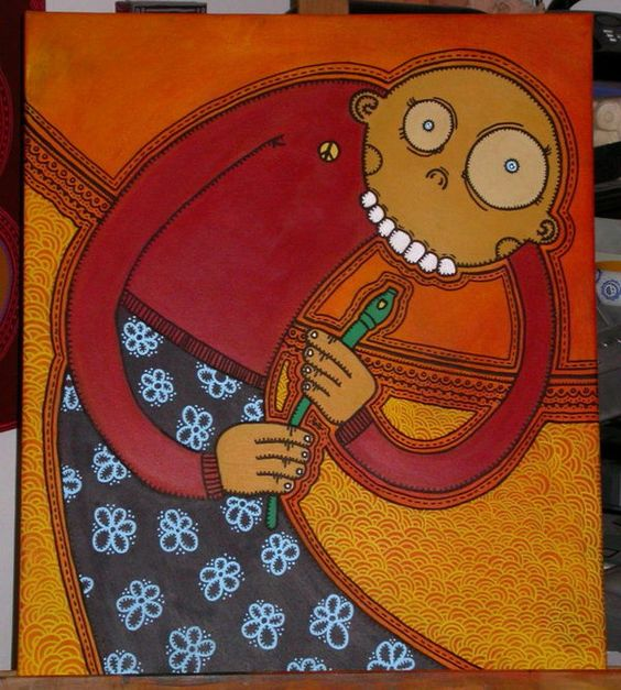 """Title : """"Beware of the Snake""""  Medium : Acrylics and Posca pen on Canvas  Year : 2008  Size : 550 x 460 mm"""
