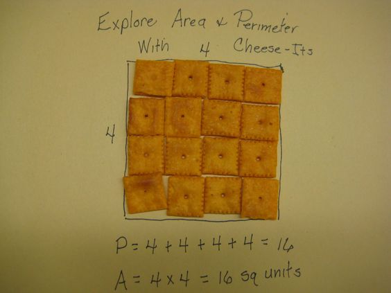 Area and perimeter with Cheez-Its!  Yummy!