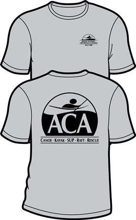 Front: ACA Logo, Since 1880.   Back: ACA, Canoe-Kayayk-SUP-Raft-Rescue  Gildan. 90% cotton, 10% polyester. Price: $12.00     Status: Supplies are Limited   Pre-shrunk.