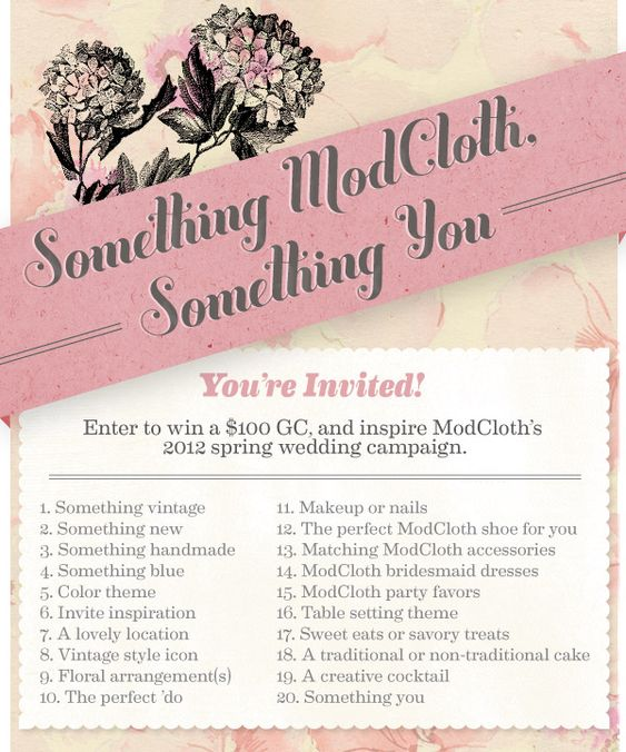 """Take part in our first themed contest on @Pinterest! To enter, create a board, title it """"Spring ModCloth Wedding,"""" then add a description of your aesthetic to your board. Make sure your board contains each of the 20 pins listed above, in no particular order. In each pin's caption, include the number, and name that the pin corresponds to for the contest, along with the hashtags #modcloth and #wedding. When your board is perfect, share it with us by posting a comment on the original contest…"""