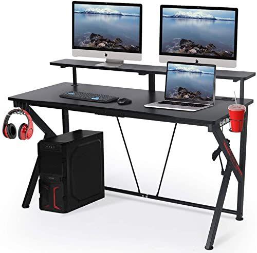 New Lynslim Black Computer Gaming Desks 55 W X 23 D Computer Table Display Support Plate Cup Holder Headphone Hook Large Surface E Sport Gamer Workstation In 2020 Work Station Desk