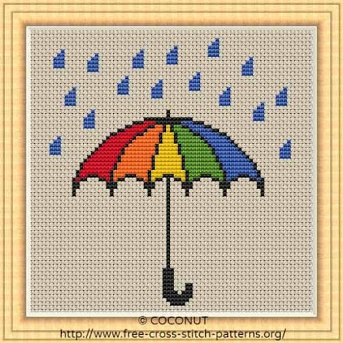 Umbrella Free And Easy Printable Cross Stitch Pattern Kanavice