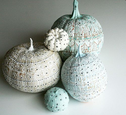 Fabric paint + beads = ornate pumpkin designs!: Pumpkin Decoration, Fall Decoration, Decorated Pumpkin, Carve Pumpkin, Painted Pumpkin, Halloween Pumpkin, White Pumpkin, Paint Pumpkin