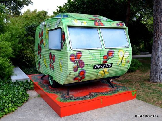 Why the Gulbenkian is one of Lisbon's highlights - by Julie Dawn Fox in Portugal | Photo: Rulote, a caravan painted with flowers and butterflies by Fátima Mendonça as part of the Next Future exhibition at the Gulbenkian in Lisbon