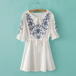 Buy 'Flower Idea – Elbow-Sleeve Embroidered A-Line Top' with Free Shipping at YesStyle.com.au. Browse and shop for thousands of Asian fashion items from China and more!