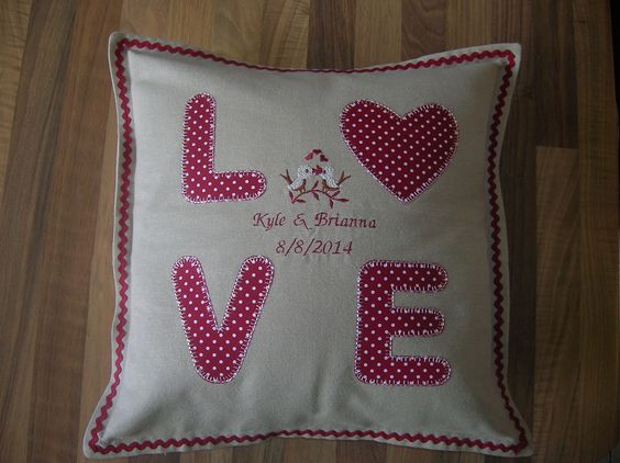 LOVE applique and embroidered cushion/pillow I made for my nephew and his wife.