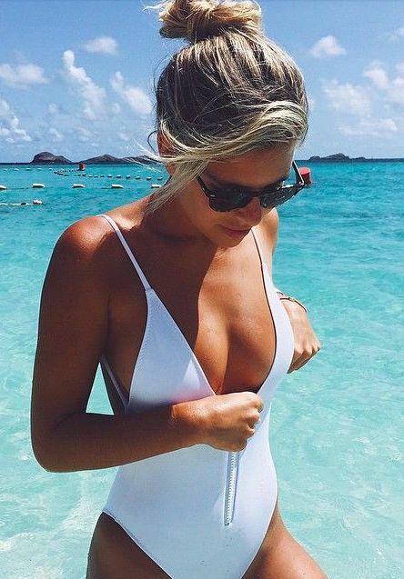 white zip one piece + #illesteva sunnies
