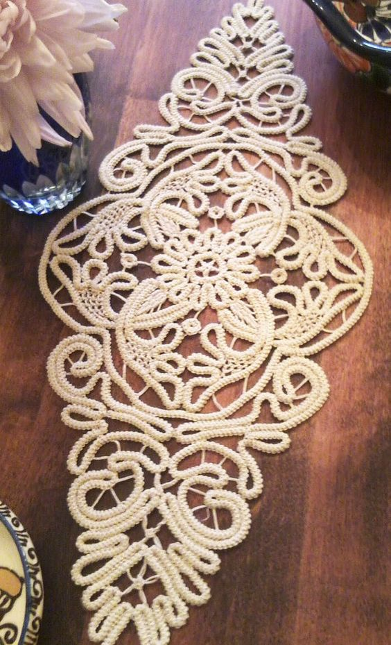 Doily Romanian Point Lace Style ECRU Beige Floral by ValeriasShop