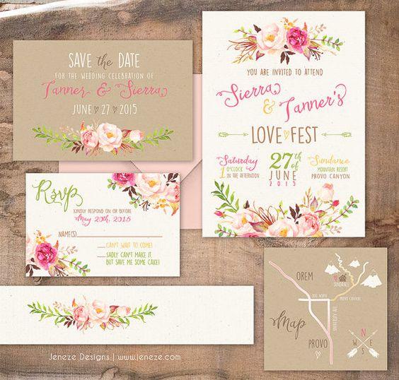 Boho Chic Wedding Invitation - Custom Wedding Invitation Set