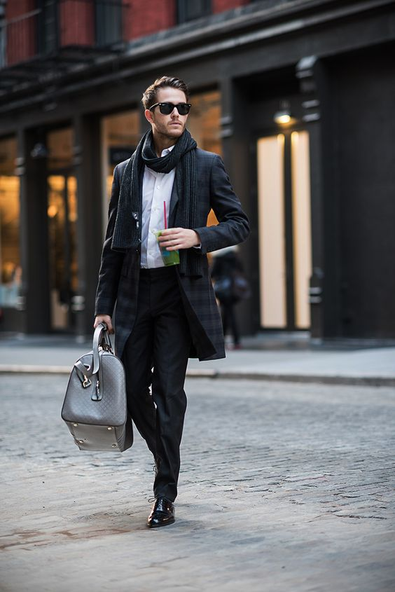 Adam Gallagher - GUCCI Holiday - Wearing: Topman trousers, Ted Baker coat, Uniqlo shirt, Rayban wayfarers, Caravelle watch, Armani Exchange scarf, Hugo boss shoes, Featuring: GUCCI duffle bag (Photos: Kevin Lu) - See more: http://iamgalla.com/2014/12/gucci/