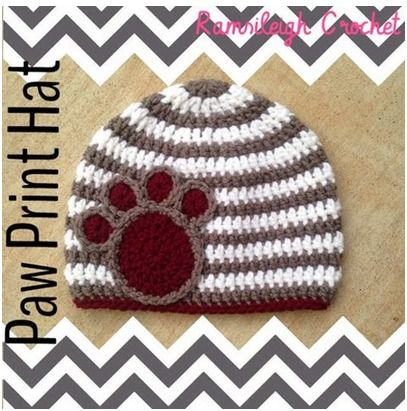 Free Crochet Pattern For Paw Print : Paw Print Hat by Ramsileigh Crochet Crochet Pinterest ...