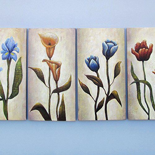 Gefii - 100% Hand-painted Abstract Painting Flower Wall Decor Landscape Paintings on Canvas 12x24 Inch x 4pcs/set Stretched Framed Ready to Hang gefii http://www.amazon.com/dp/B00Q32DOZ2/ref=cm_sw_r_pi_dp_DQLEvb13EGKX8
